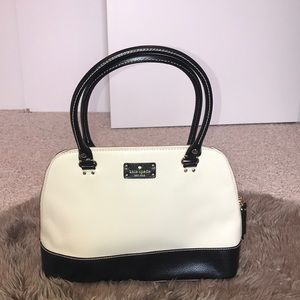 Kate Spade black and white leather tote bag